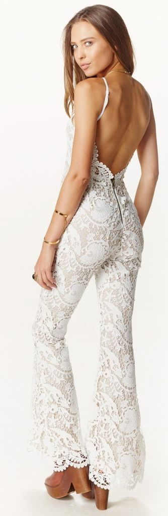 Stone Intricate Lace Bodycon Backless Jumpsuit | don't like the heels though
