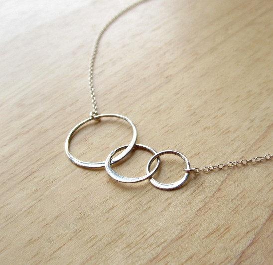 Sterling Silver Circle Link Eternity Necklace modern by Yameyu, $26.50