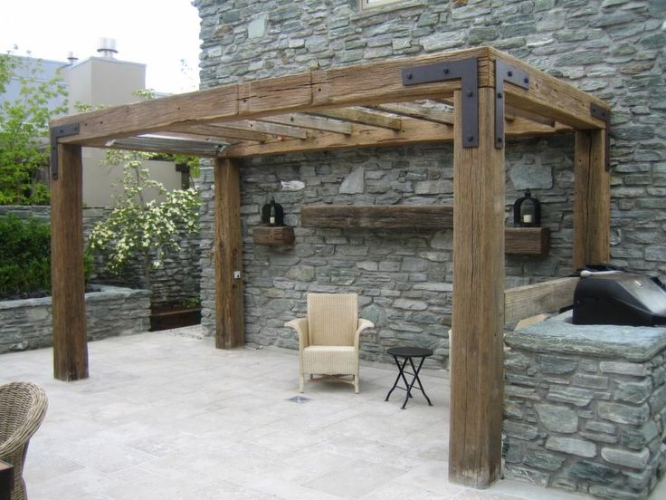Rustic Timber Pergola - love the simple look but with less roof beams so it doesn't block too much sun. Could extend gate and log wall posts to become pergola uprights.