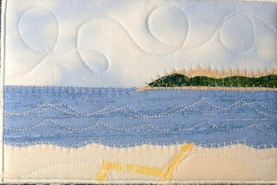ocean landscape quilt   Fabric Postcard Art Quilt-Beach Landscape Mini Applique Art Quilt