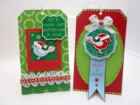 These fun tags were made with products from the Santa's List collection by KaiserCraft. Designed by Lori Williams.