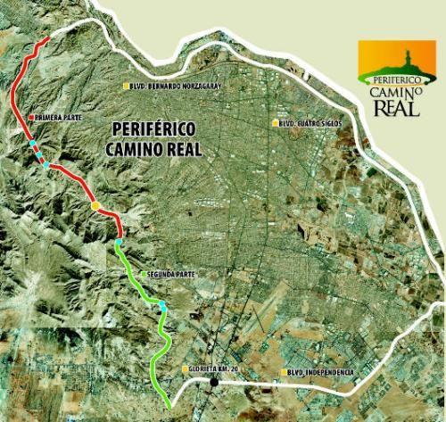 Mapa del Periférico CAMINO REAL en Ciudad Juárez.  Administración 2004-2007.