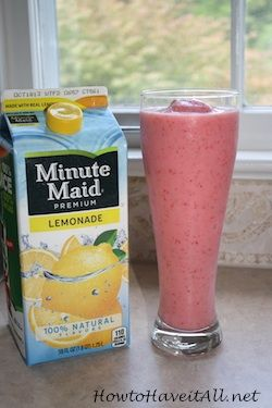 Easy strawberry lemonade smoothie recipe (use diet lemonade and non-fat yogurt)