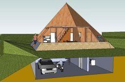 Vista de una piramicasa con garaje