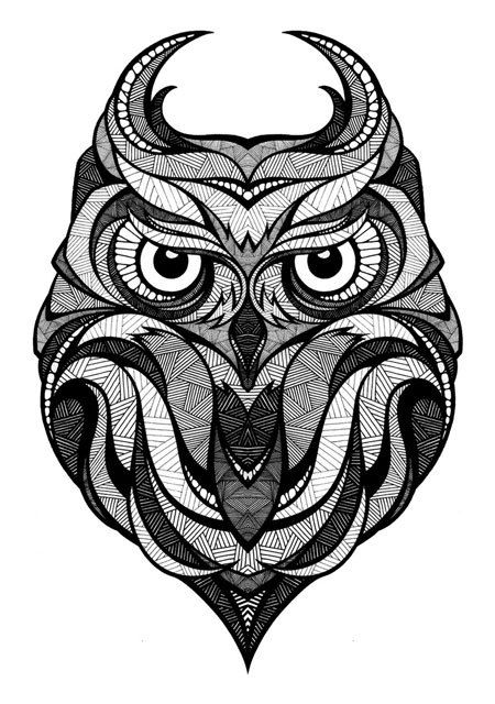 Owl Illustration Black And White I Dont Like How Th Lines Sort Of