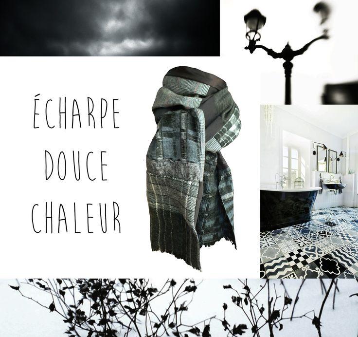 Echarpe Laine Femme ou Homme Hiver Tartan Ecossais Rayures Fleurs Prince de Galles : Echarpe, foulard, cravate par lefil