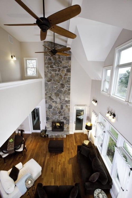 OOOHH.. very similar to a set of house plans I just drew last week!  Living room w/ high ceiling and tall stone fireplace. Balcony at top of stairs...