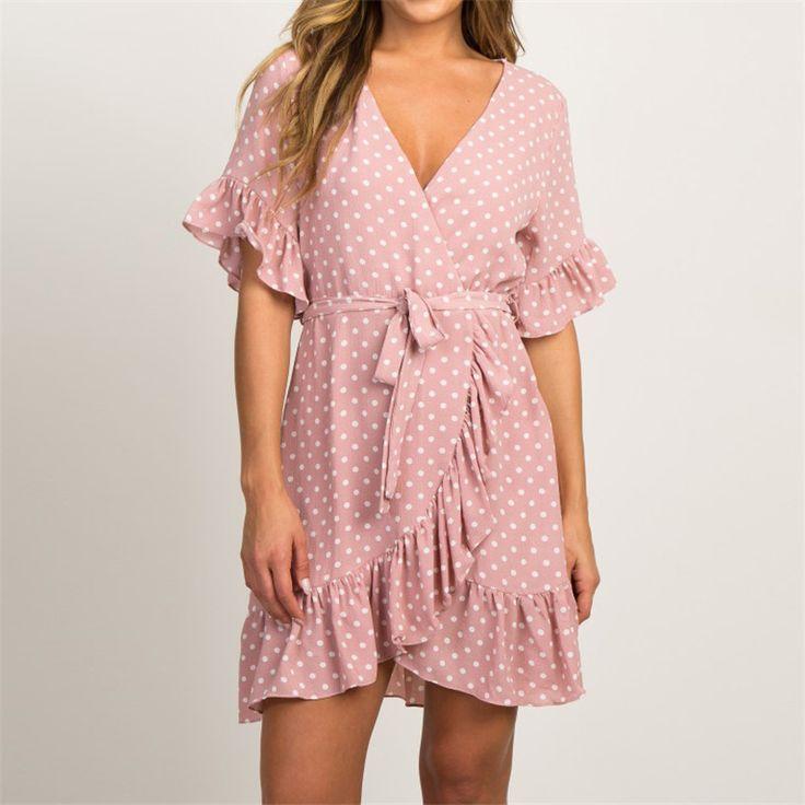 Boho Short Sleeve V-neck Polka Dot Dress PU27