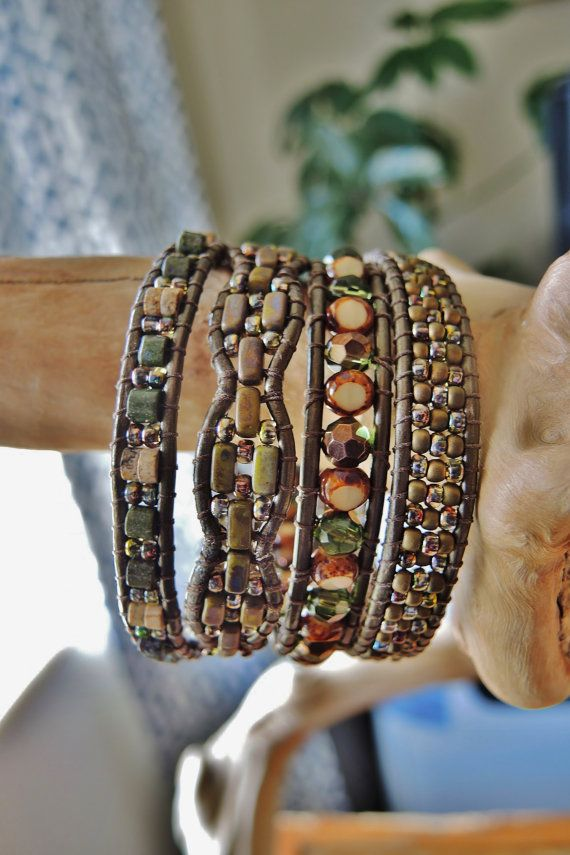 MAGIC FOREST 4 Wrap Kansa Leather Bracelet by BraceletsofBlueRidge, $96.00