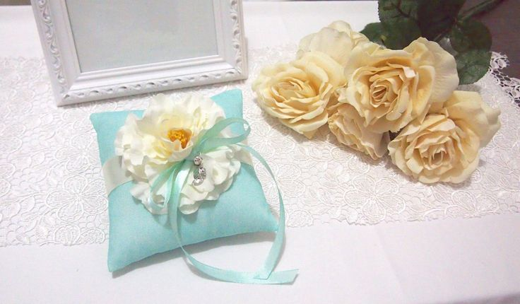 Made to Order. USD 30. Ship within 5-7 days. Shipped Worldwide.#weddingring #ringpillow #lace #flower #rhinestones #wedding #wedding accessories #tiffanyblue #ribbon #RingPillow  #ringpillow #handmadeflower #weddinggift #weddingring #brides #holymatrimony #flowerringpillow #handmade