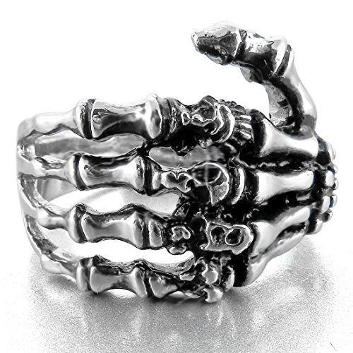 Men's Stainless Steel Ring Silver Tone Black Skull Hand