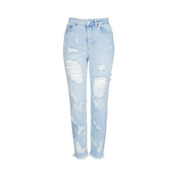 TopShop Moto Extreme Ripped Bleach Mom Jeans ($80) ❤ liked on Polyvore featuring jeans, bleach, destructed jeans, destroyed jeans, ripped jeans, topshop jeans and cuffed jeans