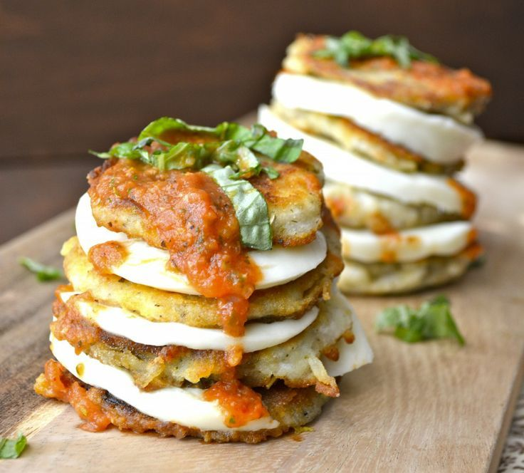 Lightly fried eggplant stacked with fresh mozzarella and drizzled with homemade marinara sauce! gluten free and vegetarian