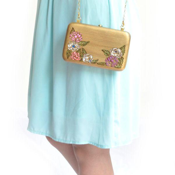 Rosa(gold) - #rachanareddy #bags #clutch #india #wood #handcrafted #woodenclutch #fashion #elegant #nostalgic #summer #statementaccessory #ss14 #campaign #ecofashion #easybreezy #sorbet #roses   Shop here: www.rachanareddy.com