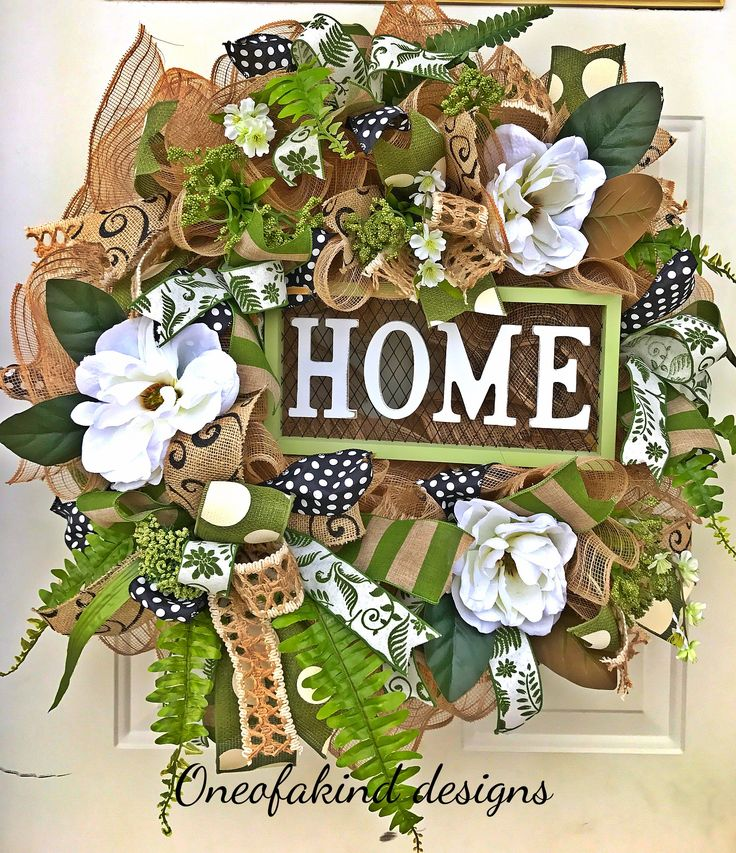 """Farmhouse style """"home"""" deco mesh wreath, with magnolias and fern accents"""