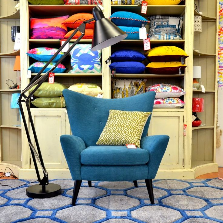 Captivating Living : MERIDA Armchair Teal Blue 1960s Style
