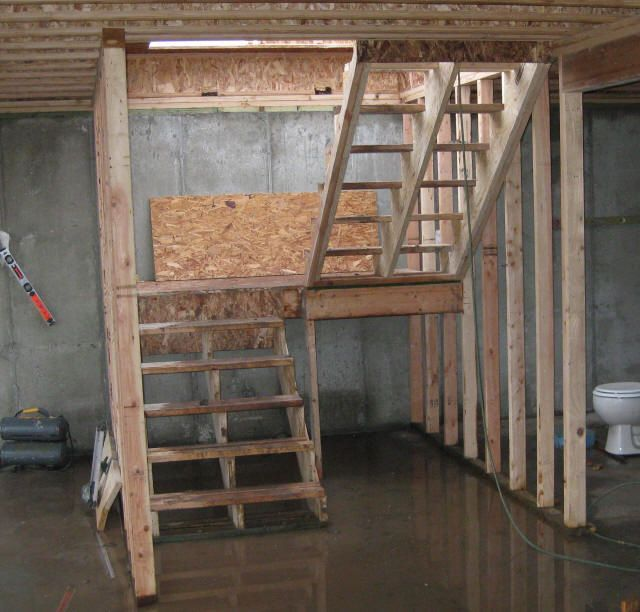 Staircase with landing calculations for building stair for Basement building cost calculator