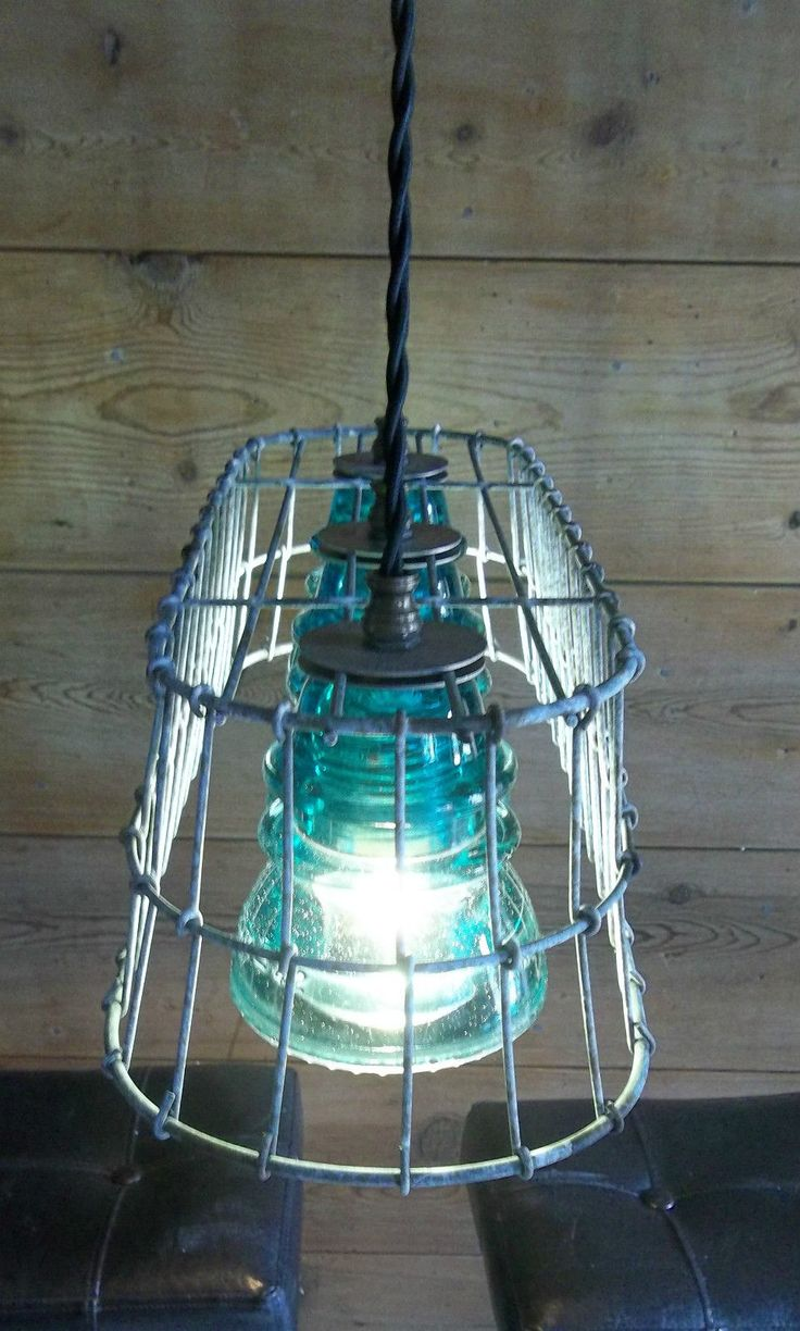Glass insulator pendant light kit feed - Wire Basket Milk Crate Glass Insulator Pendant Light Fixture Primitive Rustic