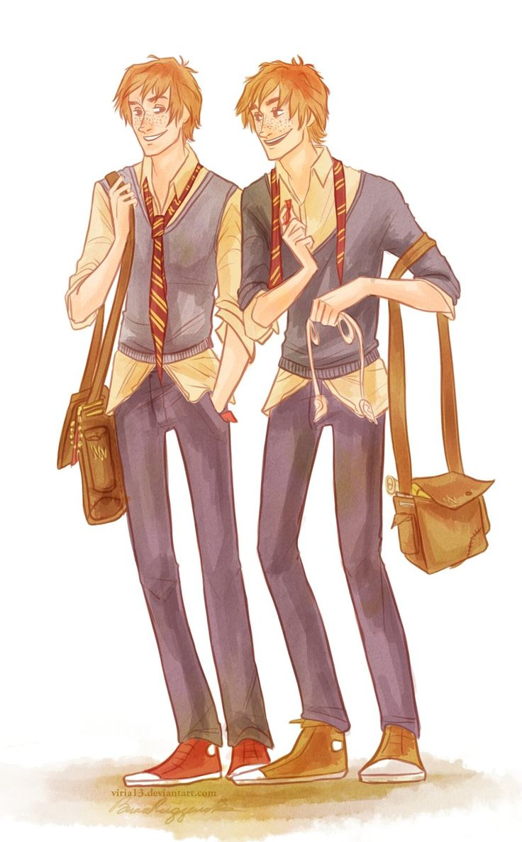 I can't go back again.. by viria13.deviantart.com the weasley twins!