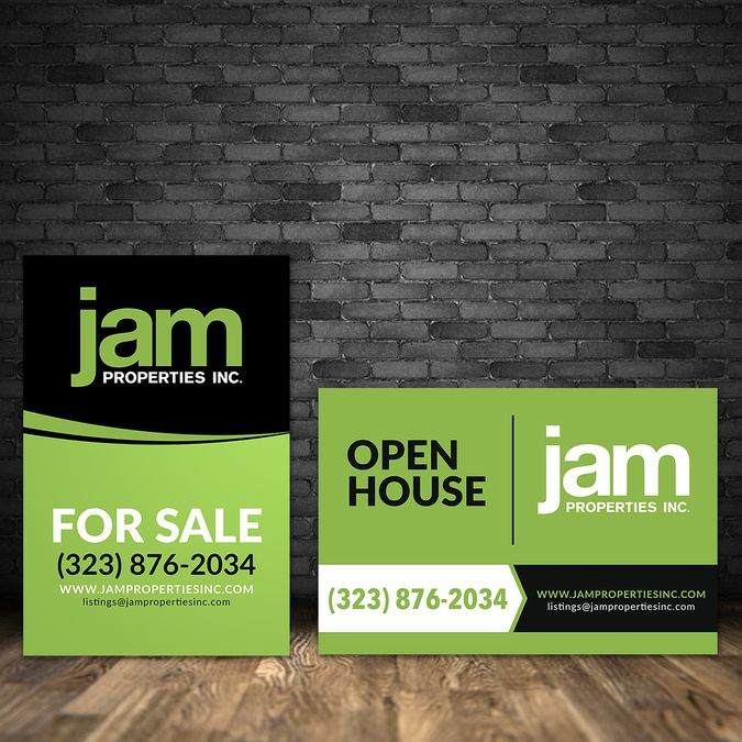 Create a sleek, modern Real Estate for sale sign for J.A.M. Properties! by…