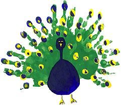 "Hand Print Peacock available from free-kid-crafts book ""Three Hens and a Peacock"""