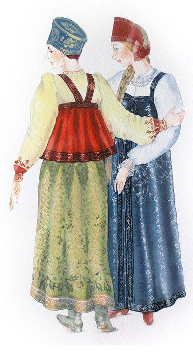 Masha Kurbatova. Boyarynya and Boyaryshnya (in blue outfit). Watercolour, 2010. A boyarynya is a noble woman in ancient Russia, a boyar's wife. A boyaryshnya is a noble unmarried girl in ancient Russia, a boyar's daughter. #art #folk #Russian #costume