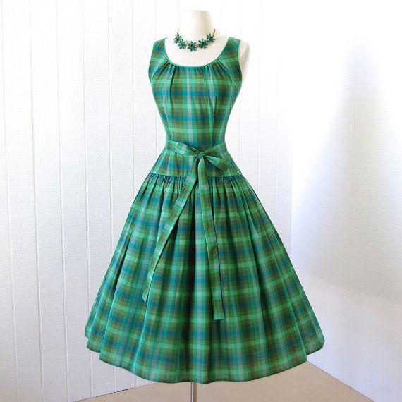 vestido vintage 1950... 2DIE4 TINA LESER Original verde por traven7