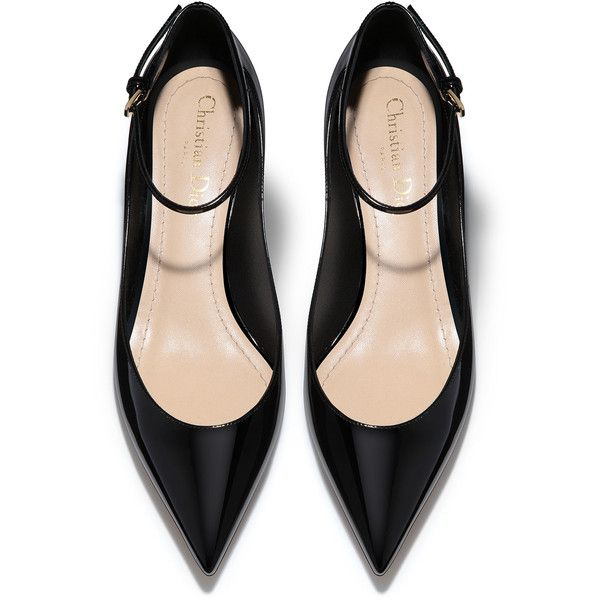 High-heeled shoe in black patent calfskin leather - Dior ❤ liked on Polyvore featuring shoes, calfskin shoes, patent shoes, high heeled footwear, black patent shoes and kohl shoes