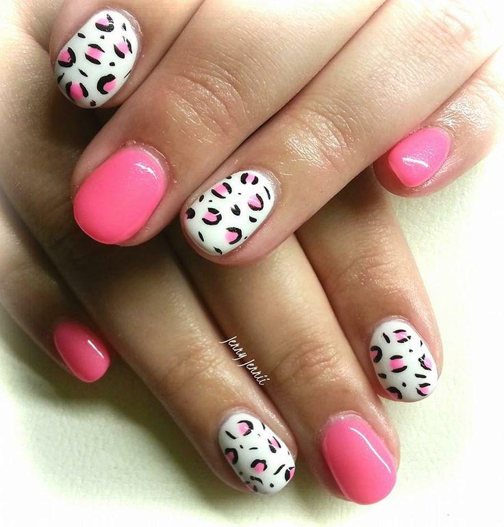 Gel Nagels Jennii - Wit en roze luipaardmotiefjes