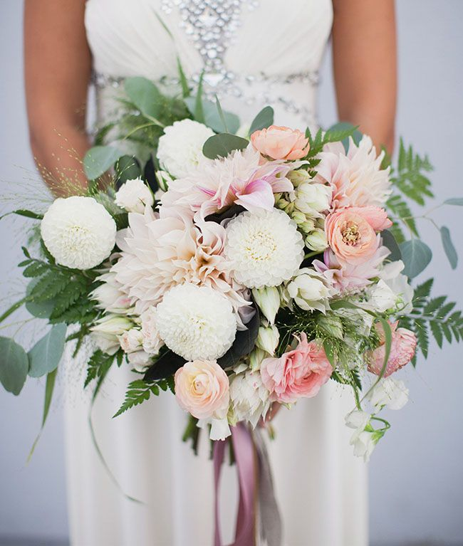 romantic modern bouquet: dahlias, ranunculus, fern and eucalyptus