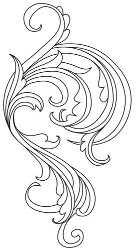 Embroider this swirling flourish design in rich golden thread (or any other color you like) to create fanciful garb, everyday fashions, and stunning decor! Downloads as a PDF. Use pattern transfer paper to trace design for hand-stitching.