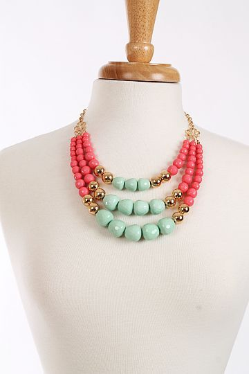 Triple Beaded Necklace, Mint $21.00