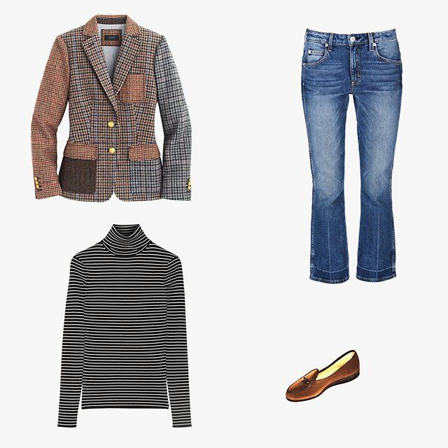 Chloe Malle, Vogue.com Contributing Editor - My Friday denim wardrobe tends to be a pretty strict uniform: either AMO's Jane or Kate jean with Belgian loafers, a striped La Ligne sweater or T-shirt, and either my Marc Jacobs tweed or J.Crew houndstooth blazer. I like for half of me to look like I'm on a British hunt and the other part to look like I'm a cowboy. It's a little schizophrenic, but I guess both have horses in common.J.Crew Collection Rhodes cocktail blazer, $298,jcrew.com; Amo…