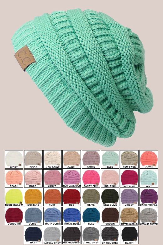 CC Beanie Women Men Acrylic Thick Cap Hat Cable Knit Slightly Slouchy in Clothing, Shoes & Accessories, Women's Accessories, Hats | eBay