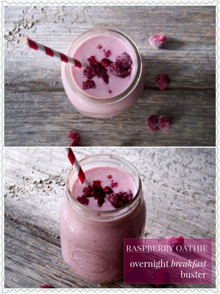 This rich and thick vegan raspberry smoothie is made with oat milk and dairy free yoghurt and easy to prepare the night before!