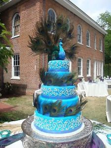 peacock cake topper | Wedding Chic 20'' Grand Fantail Peacock Cake Topper Centerpiece Shabby ...