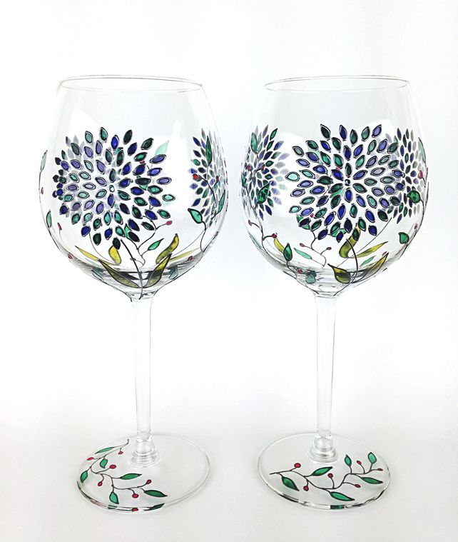 Hand Painted Wine Glasses, Wedding Glasses, Anniversary Glasses, Set of 2