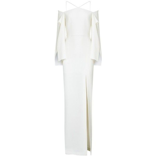 Roland Mouret Cheveley Gown ($3,525) ❤ liked on Polyvore featuring dresses, gowns, bridal, white, gold evening dresses, long sleeve white gown, long sleeve evening dresses, white halter dress and gold evening gowns