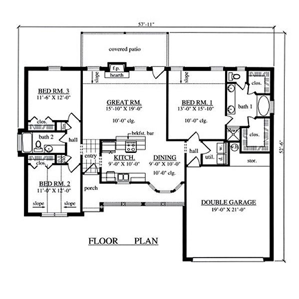 1504 sqaure feet 3 bedrooms 2 bathrooms 2 garage spaces 57 11 34 width 52 6 34 depth floor plan - House of three bedrooms plan ...