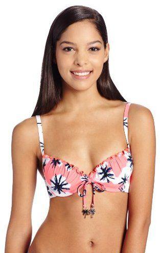Pin for Later: Les motifs palmiers nous font patienter avant l'été ! Maillot de bain deux pièces Seafolly Women avec palmiers Seafolly Women's Palm Springs Tie-Front Bustier Bikini Top ($101)