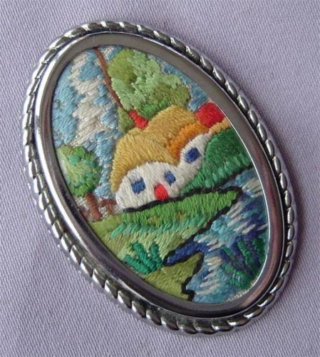 Vintage Petit Point Embroidered Country Cottage Scene Brooch