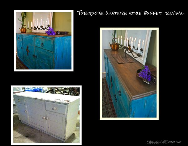 Before and after Western style turquoise buffet/sideboard revival.