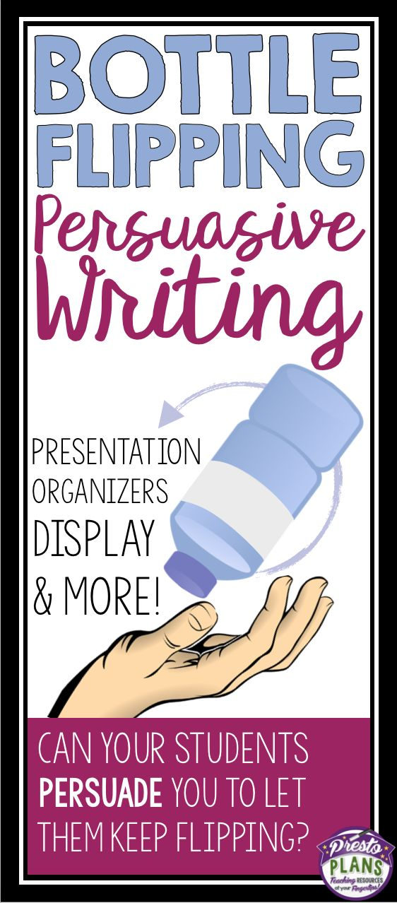 Use the popularity of the bottle flipping craze in your classroom with this fun persuasive writing lesson and writing assignment. Students will absolutely love attempting to convince teachers and parents of the benefits and merits of bottle flipping. Or, if they are frustrated by the practice, it will be their opportunity to convince their peers to put a stop to this annoying activity.