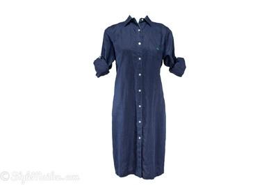Lauren Ralph Lauren Navy Blue Long Sleeve Roll Tab Linen Shirt Dress Size M at http://stylemaiden.com