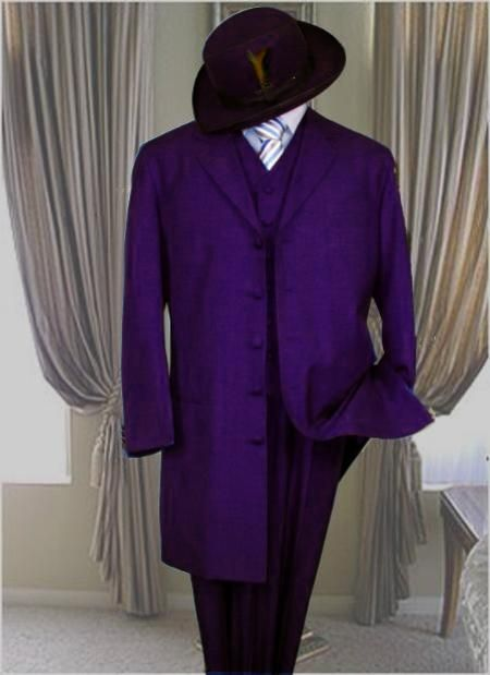Classic Long Dark Purple Fashion 1940s mens Zoot Suit $499.00 AT vintagedancer.com