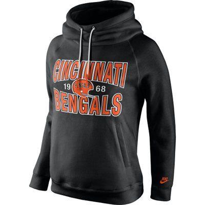 Women's Cincinnati Bengals Nike Black Rewind Rally Funnel Hoodie