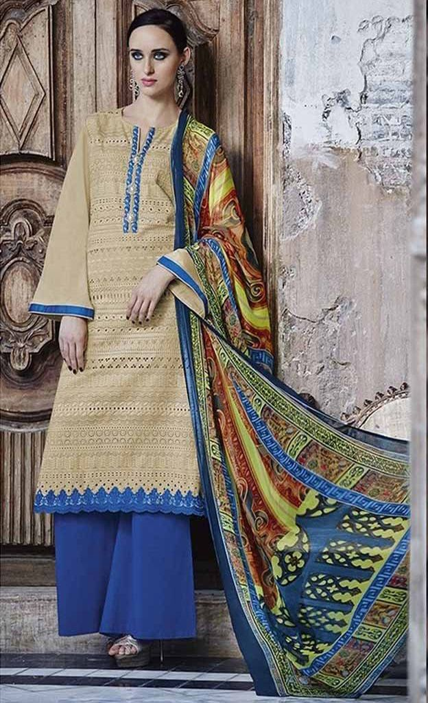 Sahiba Senora Pure Heavy Lawn Cotton Embroidered Dress Material