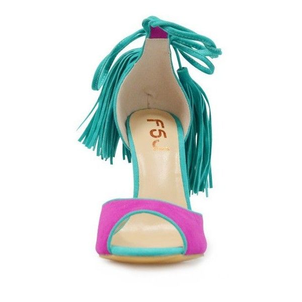 Magenta Ankle Strappy Purple and Green Sandals Stilettos High Heel... (£57) ❤ liked on Polyvore featuring shoes, sandals, high heel shoes, green strappy sandals, strap sandals, green shoes and sexy high heel shoes