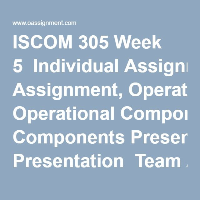 ISCOM 305 Week 5  Individual Assignment, Operational Components Presentation  Team Assignment, Parker Earth Moving Company, Session 4  Discussion Question 1  Discussion Question 2  Discussion Question 3  Weekly Summary  Final Exam