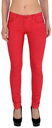 Rote Sexy Röhrenjeans Slim Fit Jeans für Frauen in Übergröße